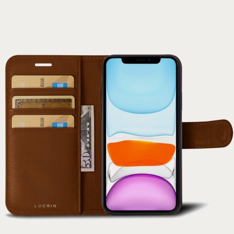 iPhone 11 Pro Max-Brieftaschenetui - Cognac - Glattleder