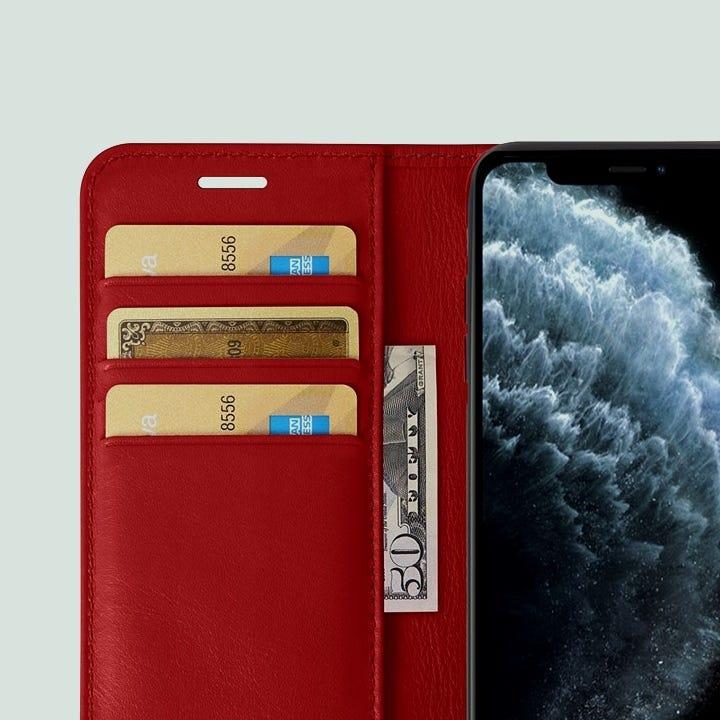 iPhone 11 Pro Max-Brieftaschenetui - Rot - Glattleder