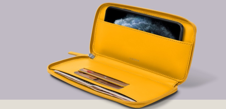 Brieftaschenetui mit Reißverschluss für iPhone 11 - Sonnengelb - Glattleder