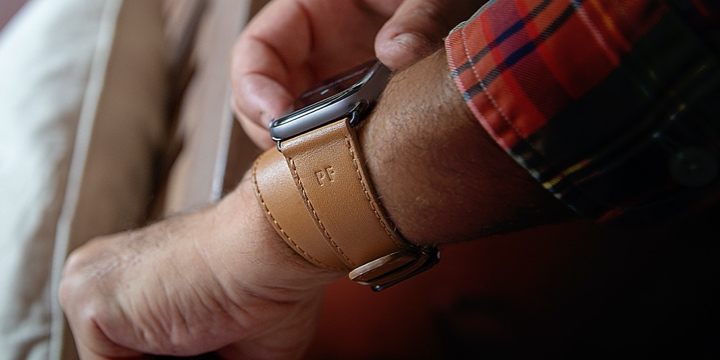 Apple Watch Series 5 Double Tour Uhrenarmband  - (44 mm) - Ocker - Glattleder